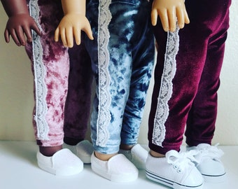 Stretch velvet Lace Joggers for 18 inch dolls by The Glam Doll- Available in Dusty Rose,  Orion Blue and Cranberry