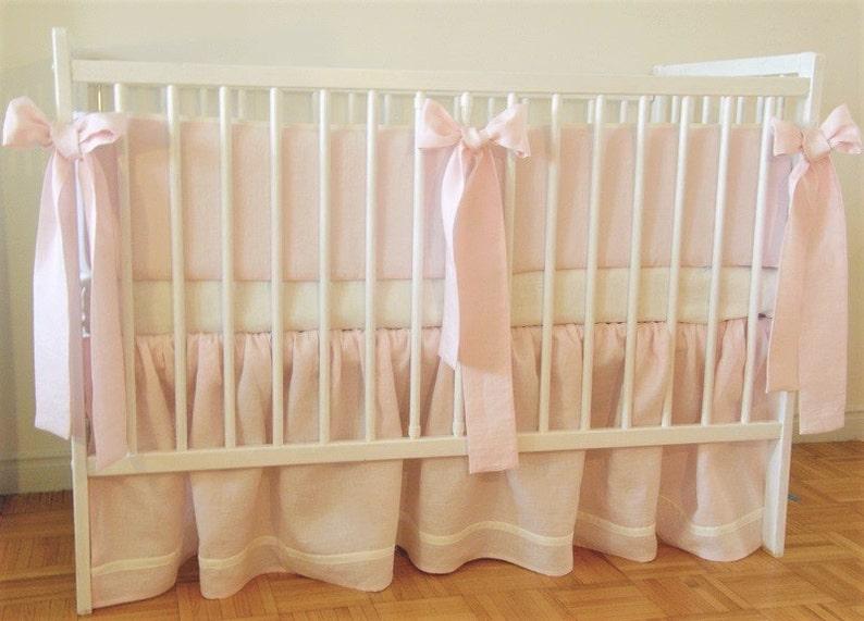 Rose literie pour berceau jupe de lit lin lit tour de lit   Etsy