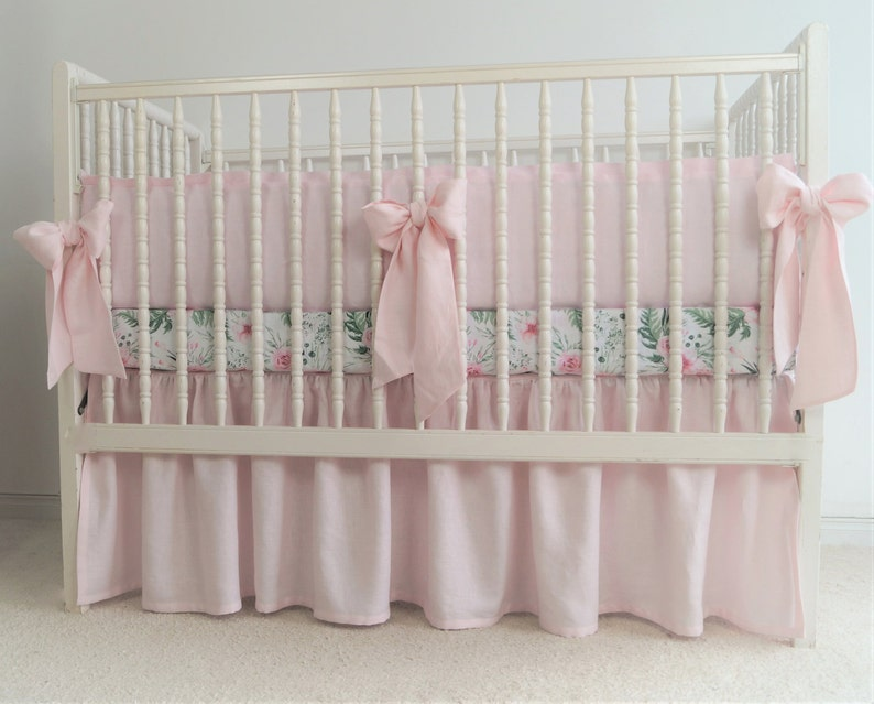 Girl Crib bedding Linen crib bedding pink crib bedding image 0