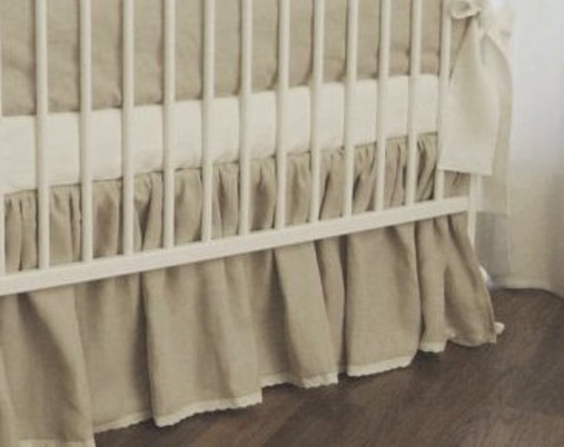 bumperless crib bedding rail cover gender neutral crib bedding rail guard Linen crib bedding