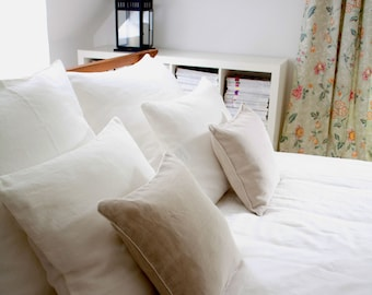Linen Bedding Queen Size  - 5 pcs.- Duvet Cover and Pillowcases  - natural and white linen