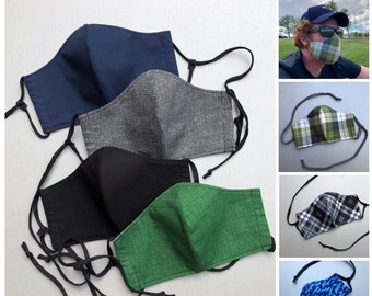 Men's Face Masks - 3-Layer, Fitted, Washable, Fabric Face Masks with Adjustable Ties in Blue, Black, Grey and Green Fabric Options