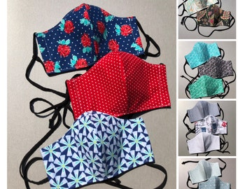 Women's Face Masks - Boho Face Masks - 3 Layer, Fitted, Adjustable Ties, Stylish Fabrics - Paisley, Floral, Polka Dots, Blue, Mint, Teal