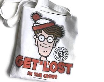 Where's Waldo Tote Bag • Upcycled T-shirt Bag • 90's Accessory • Where's Waldo Tshirt Bag • Where's Waldo Gift