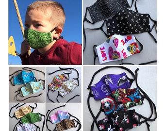 Kid's Face Masks - Adjustable, Washable, 3 Layer in Fun Fabrics, Sharks, Rainbow, Unicorns, Pirates, Marvel, Mario, Yoda and more