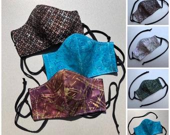 Boho Face Masks - Women's Face Masks - Batik Face Masks - Reusable, 3 Layer, Adjustable Ties, Fitted, and Washable