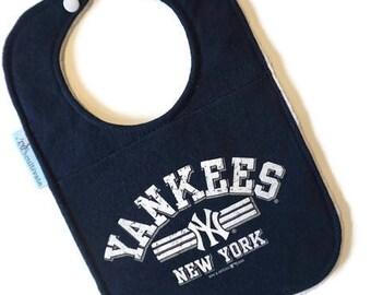 Yankees Baby Bib • Baseball Baby Shower Gift • Upcycled T-shirt Bib • Yankees Tshirt Bib