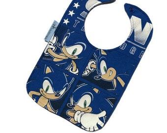 Sonic Bib • Upcycled T-shirt Bib • Sonic Baby Bib • Baby Gift
