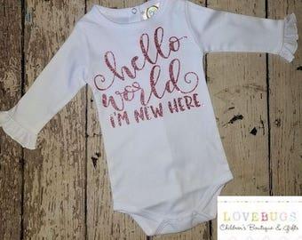 Hello World, I'm New Here Baby Girl Bodysuit*Baby Shower Gift*Glittery Rose Gold