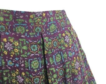 Vintage small pleated midi maxi skirt, floral, bohemian, Herman Geist