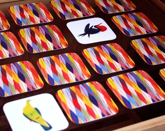 Bird Memory Matching Card Game – Educational Concentration Game, Bird Pairs – Catch that Bird!