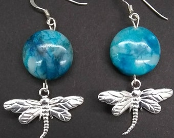 Blue crazy lace agate gemstone with sterling silver plated dragonfly on sterling silver ear wire