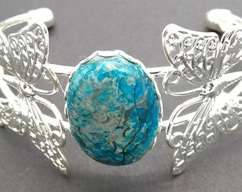 sterling silver plated butterfly cuff bracelet with blue crazy lace agate cabachon