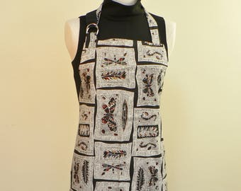 Apron, Full  apron, reversible apron, Foodie apron, black and white full apron, eco friendly, artists apron, cooks apron, Mothers day gift
