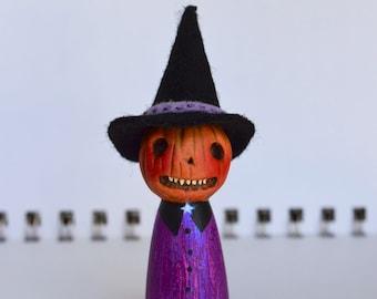 Handmade Pumpkin Witch Peg Doll