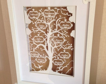 Family tree paper cutting template - 10 names