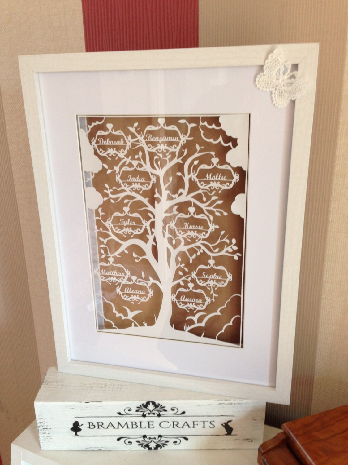 Family Tree Paper Cutting Template 5 Names Etsy