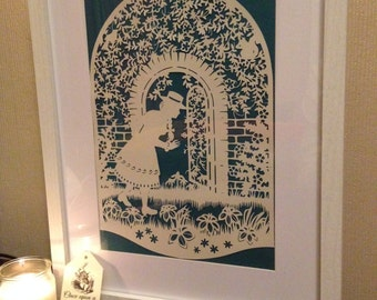The Secret Garden, papercut, fairy tale, art, wall art, paper art, wedding gift, anniversary gift, birthday gift