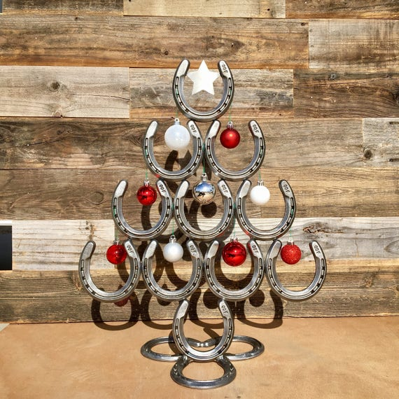Rustic Horseshoe Christmas Tree With Star And Ornaments Etsy
