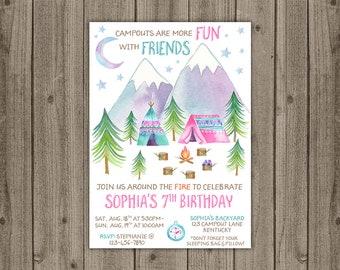 Campout invitation etsy campout birthday invitation adventure invite camping birthday party sleepover invite 5x7 jpg digital file filmwisefo