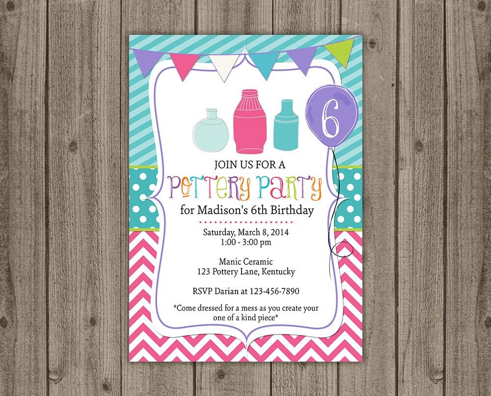 Pottery Birthday Party Invitation Girls Birthday Invite | Etsy