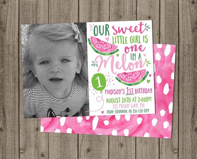 Girl Photo Watermelon Birthday Invitation - Watermelon Themed - One In a Melon Birthday - 5x7 JPG DIGITAL FILE (Front and Back Design)