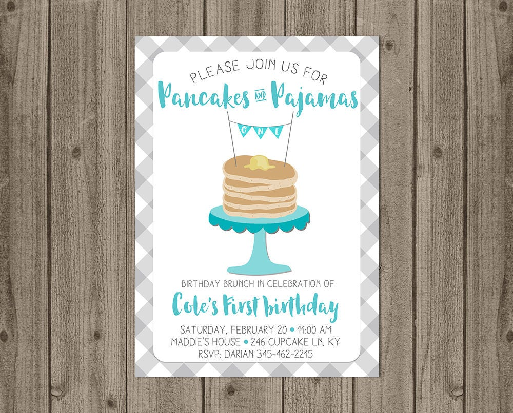 Pancake Brunch Birthday Invite Boy First Birthday Pancakes | Etsy