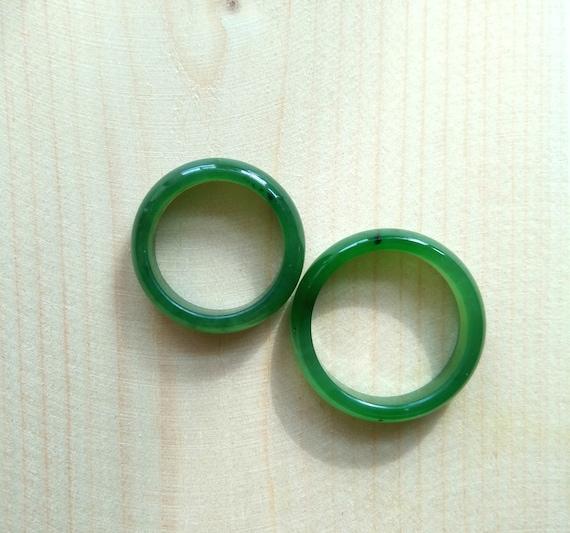 Genuine Green Nephrite Jade Narrow Band Ring