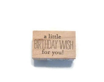 Birthday Wish Stamp, A Little Birthday Wish For You Wood Mounted Rubber Stamp, Birthday Greeting Rubber Stamp, Birthday Stamp
