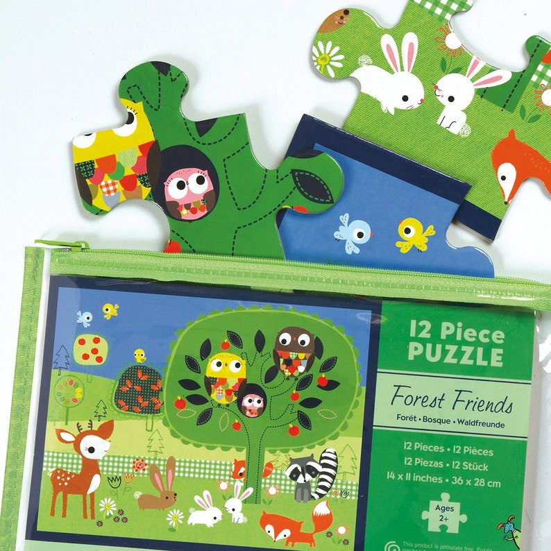 Puzzle for Younger Kids Thick Piece Puzzle for Kids Forest Friends Pouch Puzzle Animal Puzzle