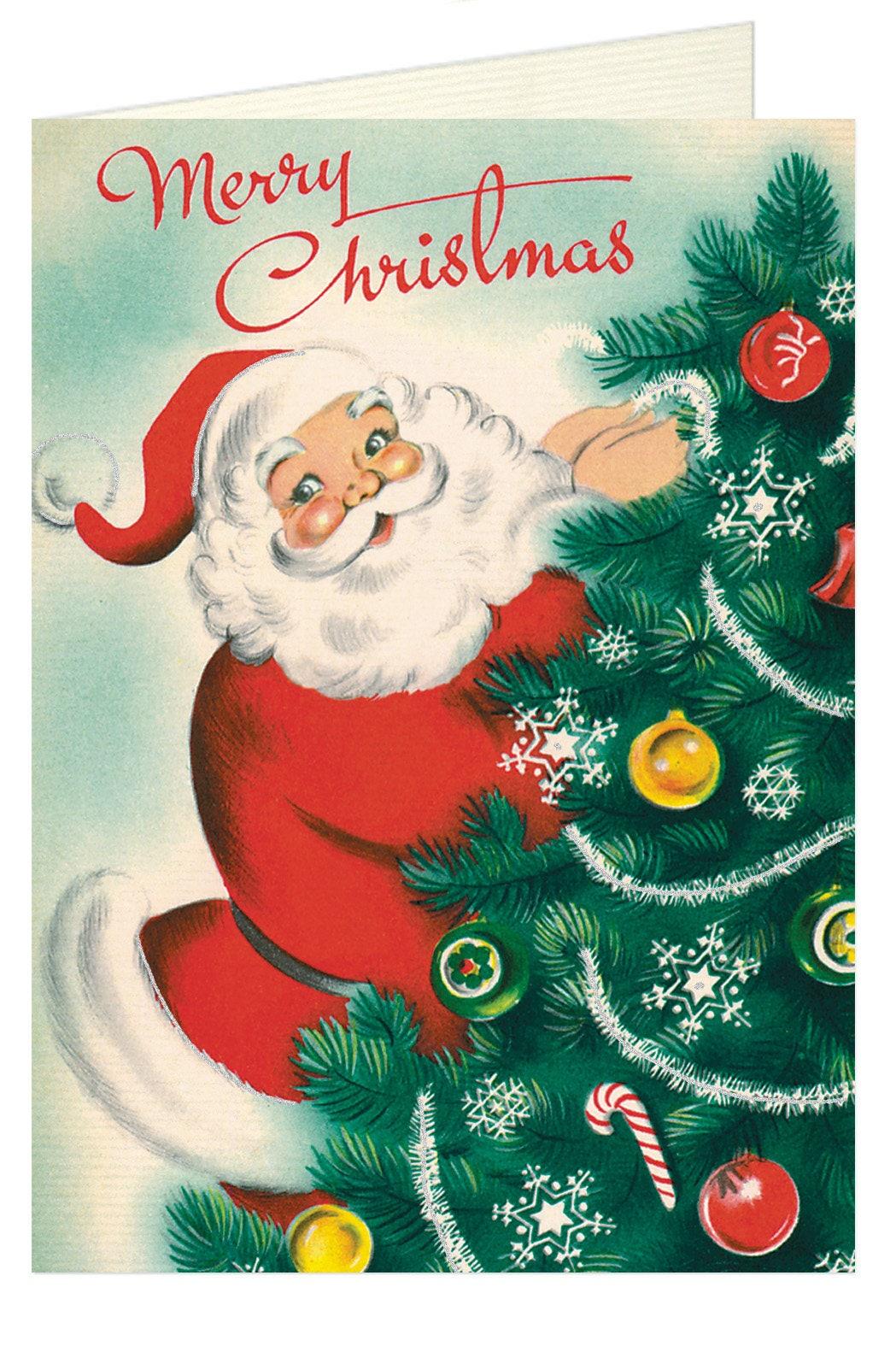 Vintage Christmas Santa Card Christmas Card Old Fashioned | Etsy