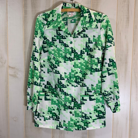 70's Green Mod Geo Smock Shirt Tunic Pockets S/M