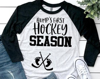 af7730aacb611 Bump's First® Hockey Season - Pregnancy Announcement Shirt - Pregnancy T- Shirt - Maternity Shirt - Hockey Season - Baseball Shirt