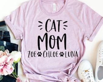 Cat Mom Shirt - Custom Cat Mom Shirt - Cat Owner- Personalized Names Cat Mom Shirt - Gift For Cat Lover - Cat Mom T Shirt - Paw Print Shirt