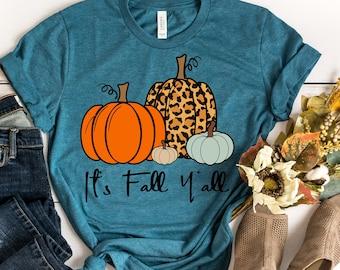 It's Fall Y'all Shirt - Fall Shirt - Pumpkin Shirt - Cute Fall Shirt - Leopard Print Pumpkin Shirt - Southern Fall Shirt - Fall Graphic Tee
