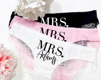 Mrs Panties - Bride Panties - Lace Wedding Underwear - Bridal Shower Gift - Bachelorette Gift - Personalized with Name - Honeymoon Gift