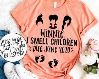 Halloween Pregnancy Shirt - Twin Pregnancy Shirt - Hocus Pocus Shirt - Pregnancy Announcement Tee - Winnie I Smell Children Shirt -  Witch
