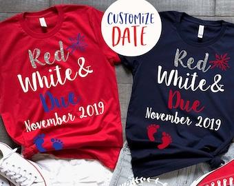4aeea393 Red White & Due® Pregnancy Announcement Shirt - Cute 4th of July Pregnancy T -Shirt - Bump's First Fourth® Shirt - 4th of July Pregnancy Tee