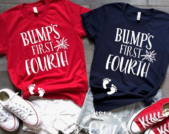 c4f00a73f9bdc Bump's First Fouth® of July Tee Shirt - Pregnancy Announcement Shirt -  Independence Day Tee - 4th of July Shirt Maternity Friendly