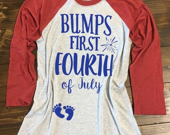 af37118bac0ef Bump's First 4th® of July Shirt. Pregnancy 4th of July Shirt. Mommy to be  Independence Day Shirt. Baby Bump 4th of July Shirt.