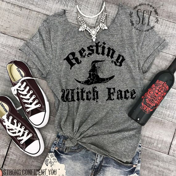 Resting Witch Face Halloween Tee