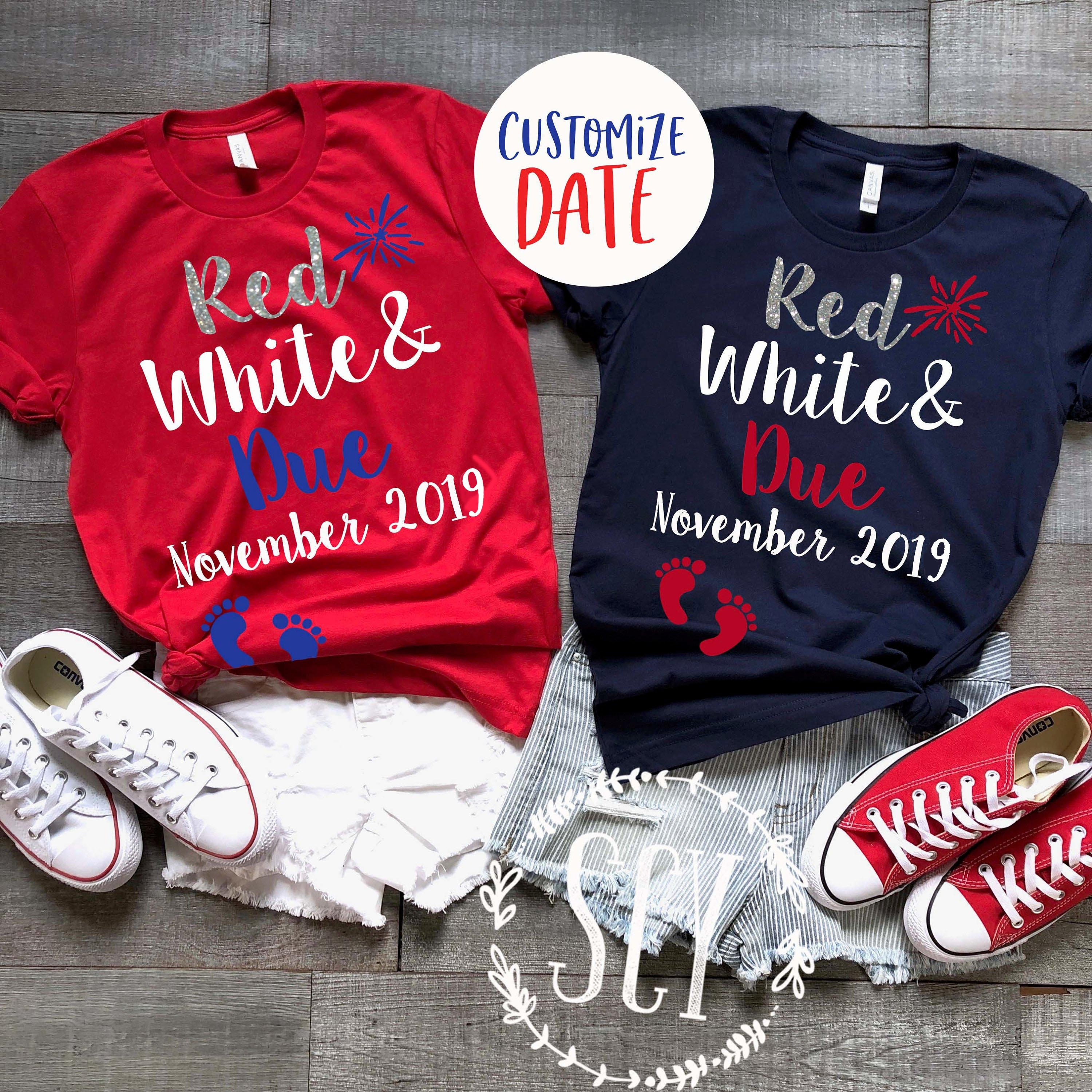 e71d964ce21e2 Red White & Due® Pregnancy Announcement Shirt Cute 4th of | Etsy