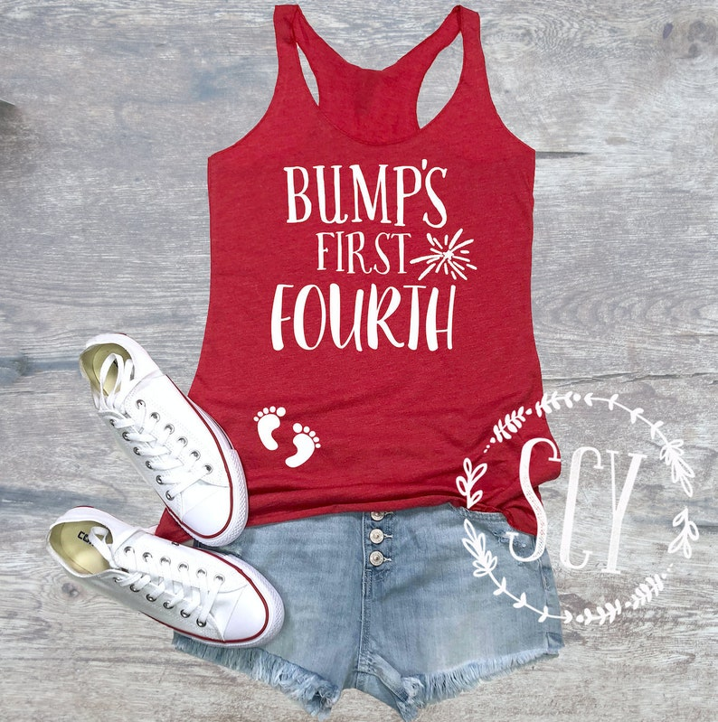 4de446114658a Bump's First Fourth®of July Pregnancy Tank Top. 4th of | Etsy