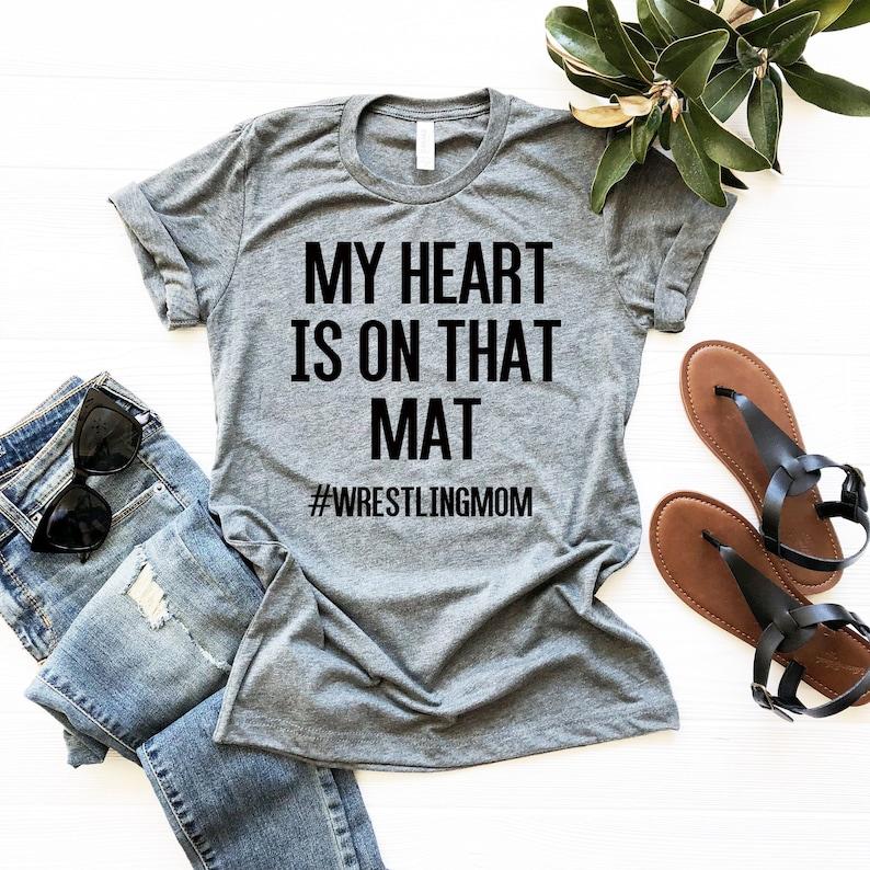 Wrestling Mom TShirt. My Heart Is On That Mat Wrestlingmom image 0