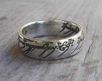Lord of the rings,sterling silver,the one,solid wedder,elfin,precious