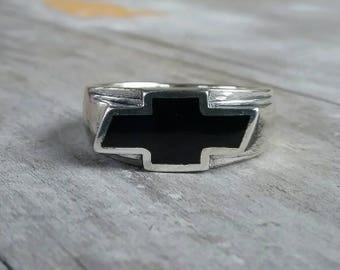 Chevrolet car ring sterling silver cheve ring rockabilly ring