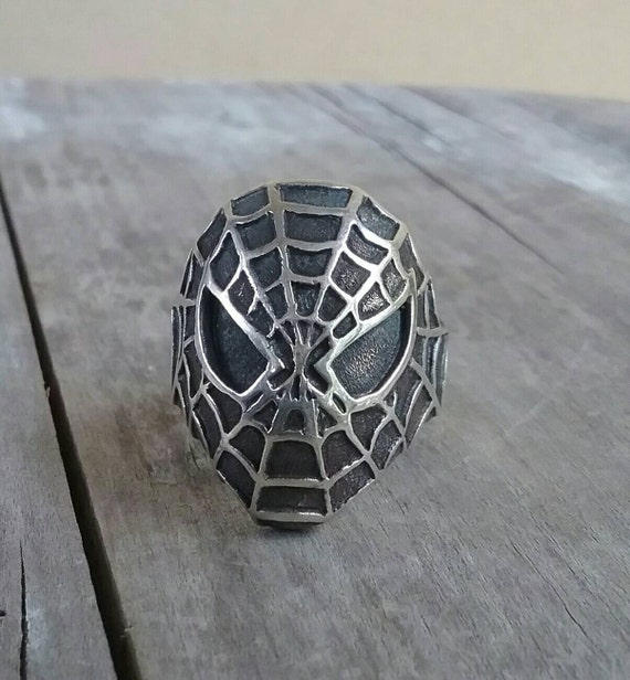 Large Spiderman ring,comic,sterling silver,superhe