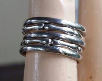 Sterling silver stacking rings bamboo design and half rounded