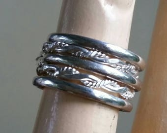 Sterling silver stacking rings twisted wire