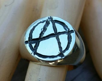 Large Anarchy ring, sterling silver,rebel, steampunk, punk, signet ring,sid vicious,handmade,mens fashion,chunky ring,emo,grunge